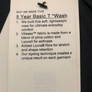 lululemon athletica Shirts - Lululemon 5 Year Basic T * Wash